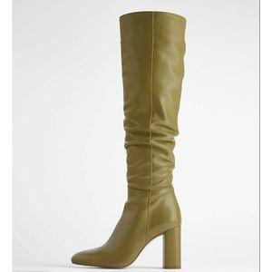 Zara Leather High Heeled Knee Boots Khaki 9 40